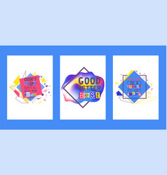 Alphabetical collage set cards vector