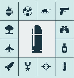 army icons set with grenade sniper rocket and vector image