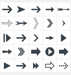 arrow icons black flat set of arrows vector image