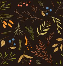 autumn season botany flat seamless pattern vector image