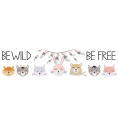 Banner free wild brave with animals cat wolf bear vector