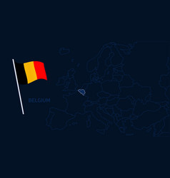 belgium on europe map high quality map europe vector image