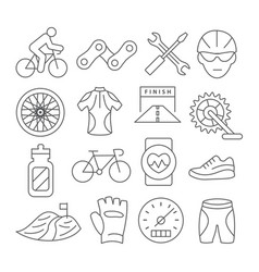 biking line icons vector image