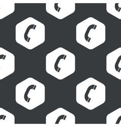 Black hexagon phone receiver pattern vector