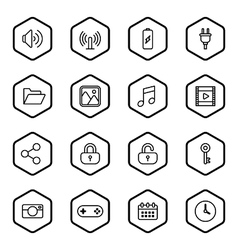 Black line web icon set with hexagon frame vector