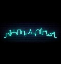 Blue neon skyline lansing bright lansing city vector