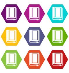 book icon set color hexahedron vector image
