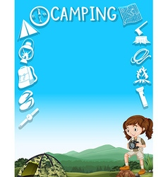 Border design with girl and camping tools vector