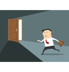 Businessman running to the exit vector