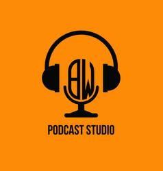 Bw monogram headphone and microphone style vector