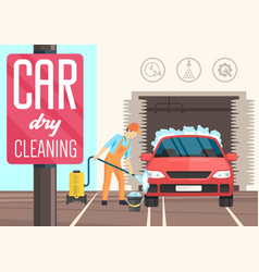 Car dry cleaning flat vector