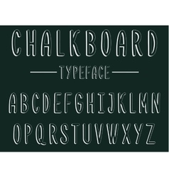 Chalkboard typeface modern font written on the vector image