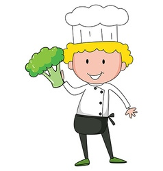 Chef holding broccoli in one hand vector image