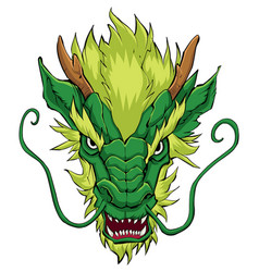 Chinese dragon head green vector