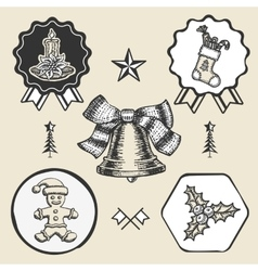 Christmas candle sock gingerbread bell vintage vector image