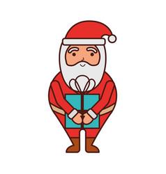 christmas happy santa claus with gift box holiday vector image