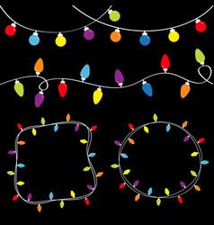 Christmas lights set lightbulb glowing garland vector