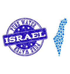 collage map of israel with water dews and grunge vector image