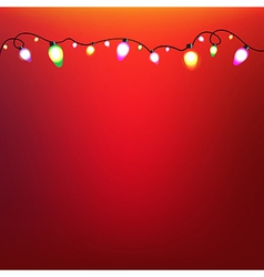 Colorful Bulb Garland With Red Background vector