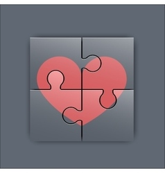 Colorful heart shaped puzzle vector