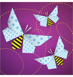 Colorful origami bees with patterns and paths vector
