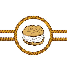 Creampuff pastry lasso rope vector