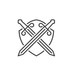 crossed swords and shield outline icon or vector image