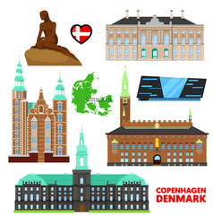 denmark copenhagen travel set with architecture vector image