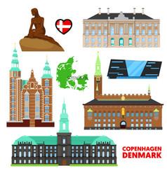 Denmark copenhagen travel set with architecture vector