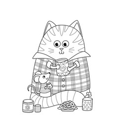 doodle coloring book page cute fat cat and little vector image