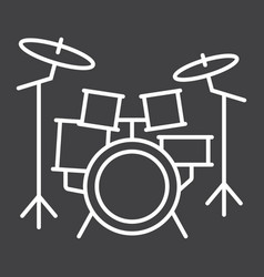 drum kit line icon music and instrument vector image