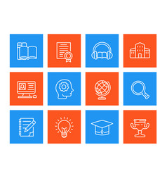 Education learning line icons set vector