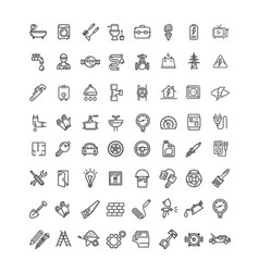 engineering black thin line icon set vector image