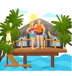 exotic tropical island vacation loved couple vector image