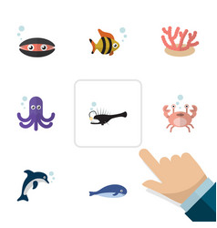 Flat icon marine set of cachalot cancer seafood vector