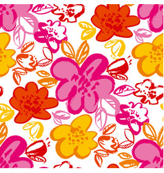 floral blossom hand drawn seamless pattern vector image
