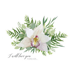 Floral greeting card with elegant orchid flower vector