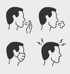 flu symptoms icon set isolated on vector image