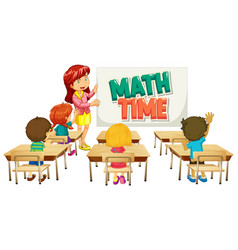 Font design for word math time with teacher and vector