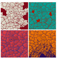 four cracks pattern set vector image