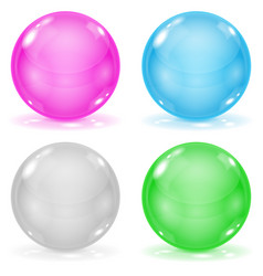glass balls set of 3d shiny sheres isolated on vector image