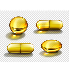 gold oil capsules vitamine round and oval pills vector image