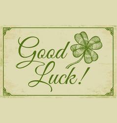 Green lucky clover poster vector