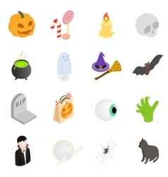 Halloween isometric 3d icons vector image