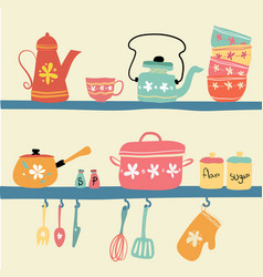 Hand drawn pastel vintage kitchenware set vector