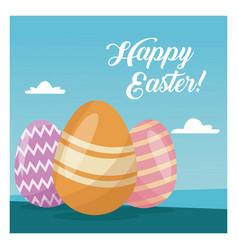 Happy easter card cute egg decorative blue sky vector