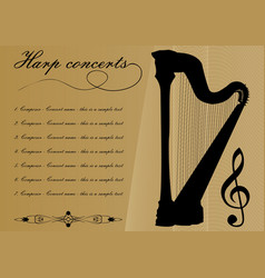 Harp concerts program template with black harp vector