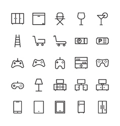 Hotel outline icons 9 vector