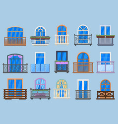 house facade balconies balcony terrace fencing vector image