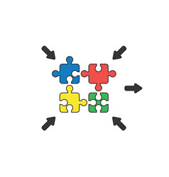 Icon concept jigsaw puzzle pieces connecting vector